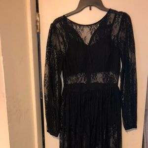 Black lace see through dress